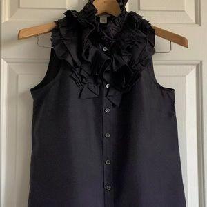 JCrew Kelsey Ruffle Neck blouse. 100% Silk Size 2